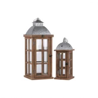 Wooden Lantern With Galvanized Top and Ring Handle, Set Of 2, Natural Finish Brown (1)